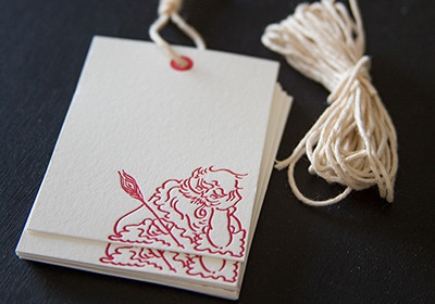 Santa Gift Tag Set with Twine: letterpress