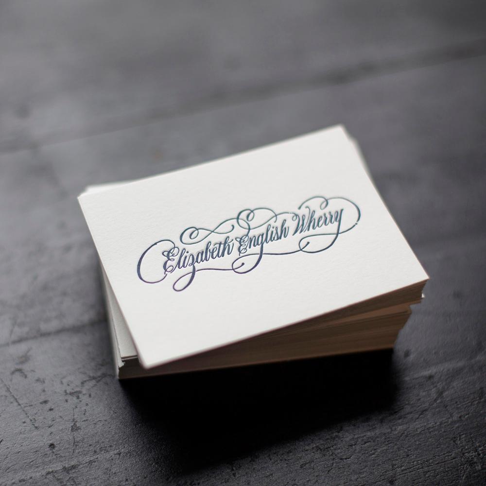 Custom Calligraphy Letterpress Calling Cards Ancesserie