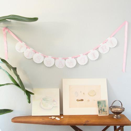 garland, letterpress, baby girl, shower, birth