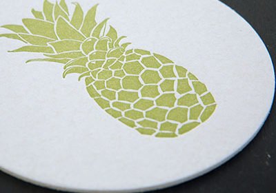pineapple, letterpress, tropical, coasters, letterpress coasters, hostess gift, welcome, hospitality, tropical
