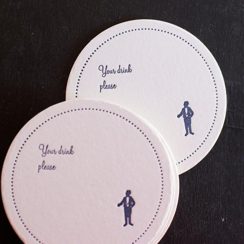 gentleman, coasters, letterpress,