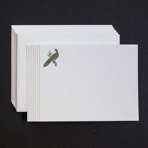 pheasant note cards, letterpress