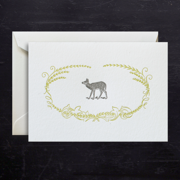 Note cards fawn filigree