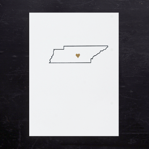 Tennessee State Map Note Cards