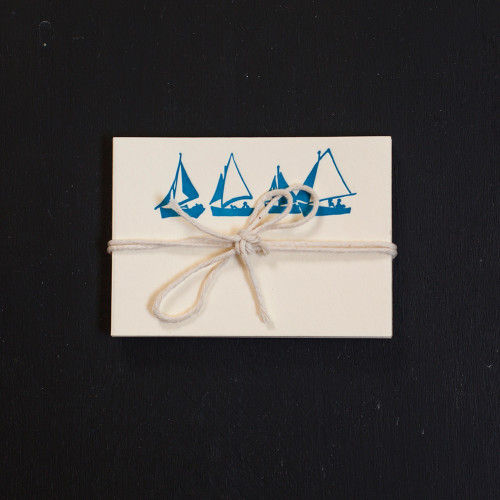sailboat, place cards, letterpress, nautical