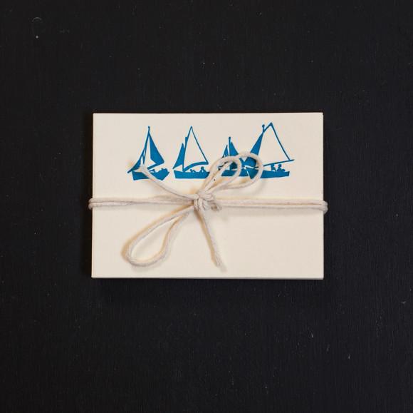 sailboat, place cards, letterpress, nautical
