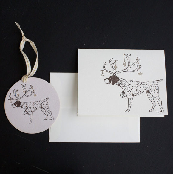 pointer, holiday, tag, ornament, letterpress, note card, holiday card