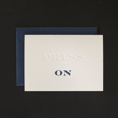Press On letterpress Greeting Card