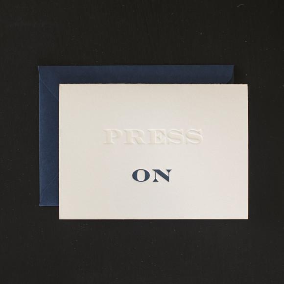 Press On letterpress Greeting Card