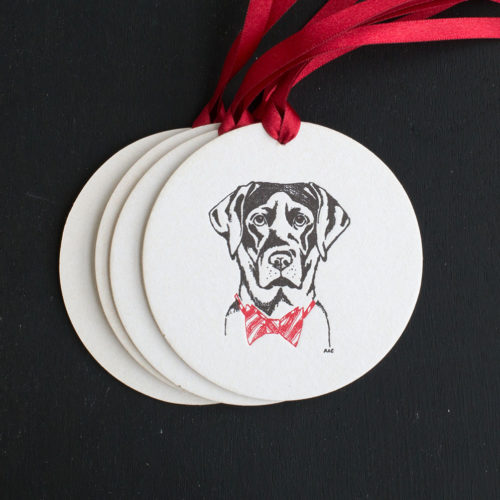 labrador, retriever, ornament, tag, letterpress , black lab, bow tie, red bow tie, festive, holidays, holiday tags, dog, pet, source