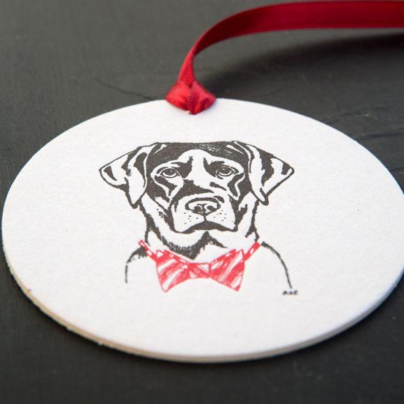 labrador, retriever, ornament, tag, letterpress , black lab, bow tie, red bow tie, festive, holidays, holiday tags, dog, pet, source