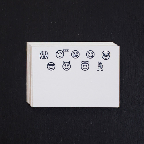 Emoji, Place Cards, Night Blue, letterpress, gift enclosures