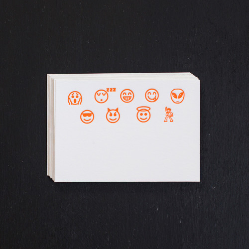 Emoji, Place Cards, Orange, letterpress, gift enclosures