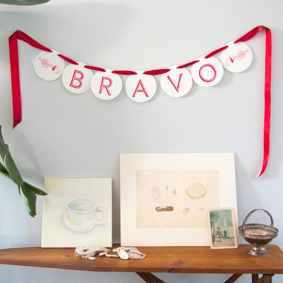 garland, bravo, festive, accomplishment, letterpress