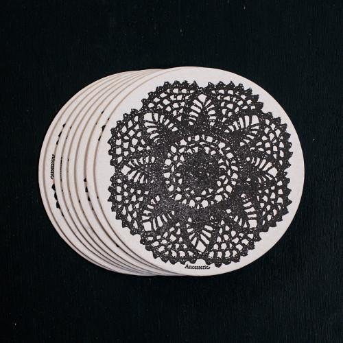 lace, coasters, letterpress, doily