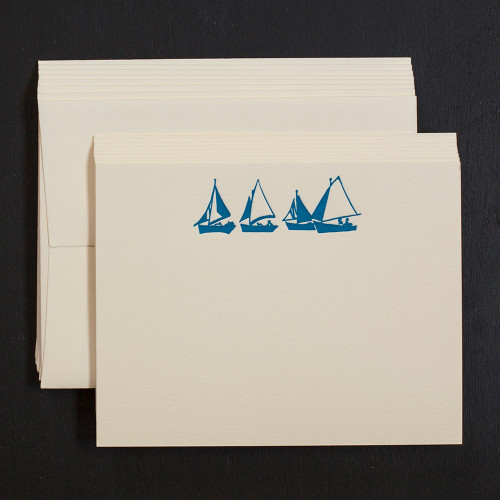 sailboat, nautical, note cards, letterpress
