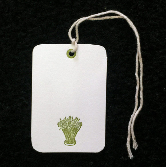 daffodils, gift tags, letterpress,