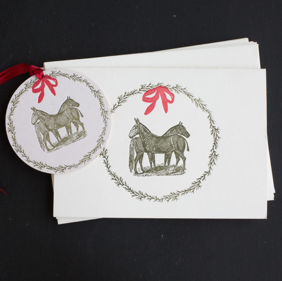 equine, wreath. holiday cards, mule, horse, boxed notes, boxed cards , holidays, rural, pastoral, farm, ornament, tag