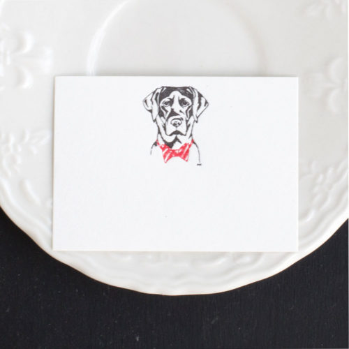 lab, black alb, holiday, table escapes, Labrador, black lab, bow tie lab, bow tie, red bow tie, letterpress , place card