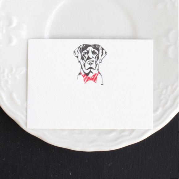 lab, black alb, holiday, table escapes, Labrador, black lab, bow tie lab, bow tie, red bow tie, letterpress , place card