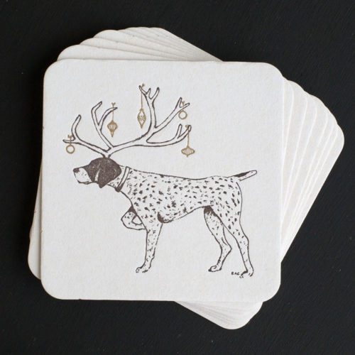 pointer, coasters, letterpress coasters, dog, sporting life