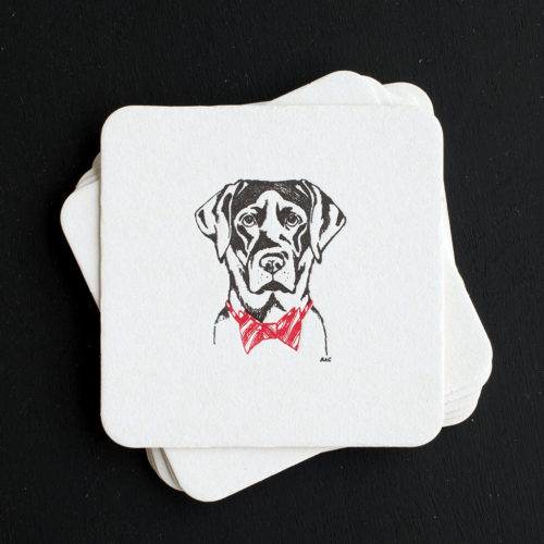 lab, bow tie, black lab, letterpress coasters, coasters, bar ware, holiday, Christmas, sporting life,