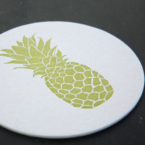 pineapple, letterpress, tropical, coasters, letterpress coasters, hostess gift, welcome, hospitality, tropical