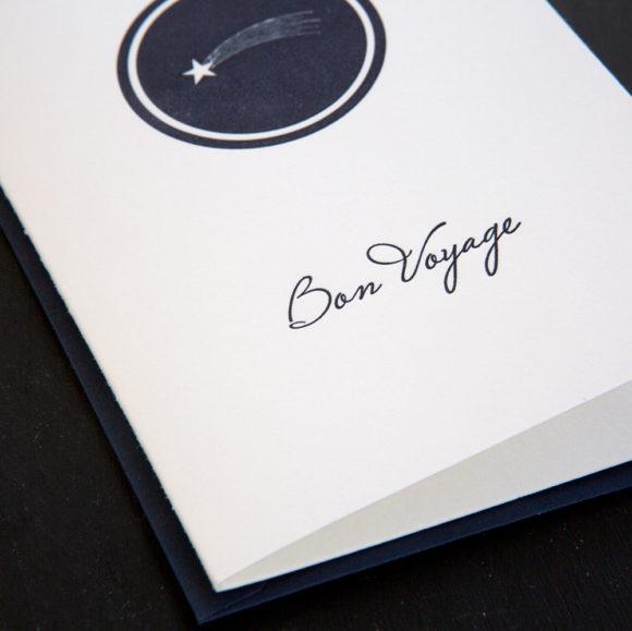 bon voyage, good luck ,happy trails, greeting card, letterpress, goodbye, safe travels