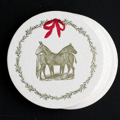 farm, coasters, letterpress coasters, bar ware bar tools, hostess gift, Holidays, horse, mule, pastoral, rural, wreath, equine