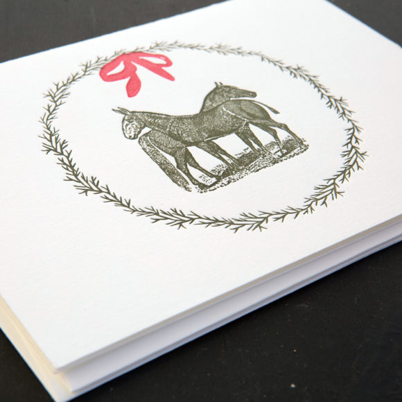 equine, wreath. holiday cards, mule, horse, boxed notes, boxed cards , holidays, rural, pastoral, farm,