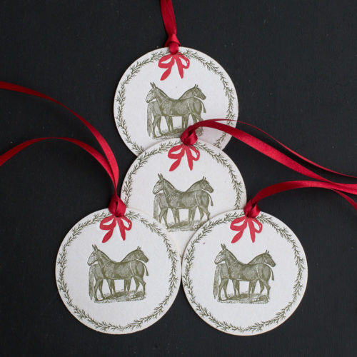 equine, wreath, mule, horse, holidays, rural, pastoral, farm, ornament, tag