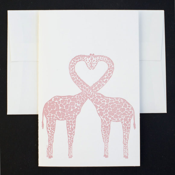 giraffe, love, greeting card, letterpress card, valentine, chip, pink giraffe