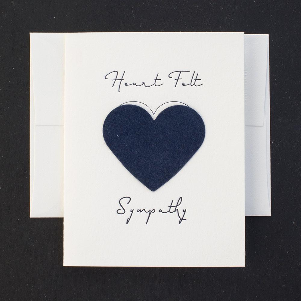 sympathy card letterpress greeting card heartfelt compassion felted paper - Letterpress Greeting Cards