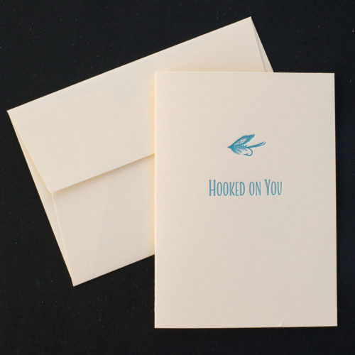 hooked on you, greeting card, letterpress, valentine