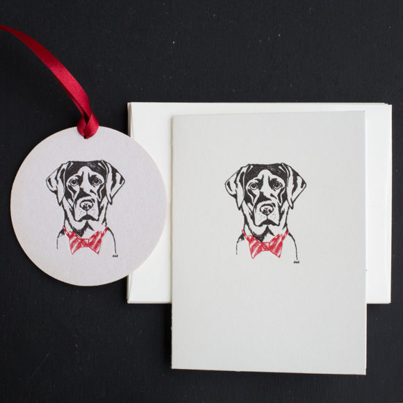 , greeting card,lab, bow tie, black lab, note card, ornament, tag, holiday, Christmas, sporting life,