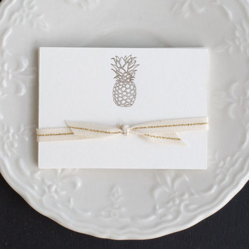 , enclosure,Pineapple, place card, hospitality, set the table