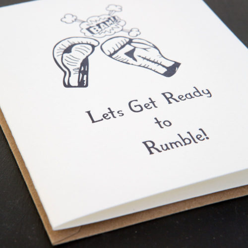 ready to rumble, boxing, greeting card, letterpress card, all set, high energy, all set